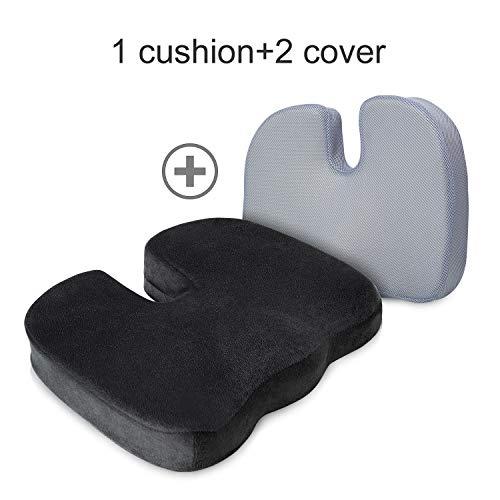 BedStory Orthopädisches Sitzkissen für Bürostuhl und Auto, Memory Foam Stuhlkissen wirkt Schmerzlinderung, Ergonomisches Sitzkissen für besten Sitzkomfort,Fördert Durchblutung und Schutz Steißbein