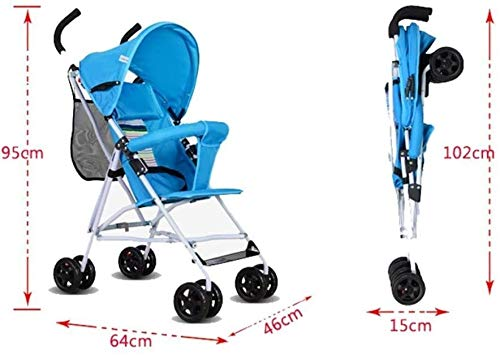 LAMTON Baby Pushchair, Buggy, Pushchairs Trolley Simple Portable Stroller Stroller Lightweight Folding Baby Carriage Baby Four Wheels (Color : Navy Blue) LAMTON The adjustable 5-point safety harness has comfortable shoulder pads, The sturdy frame has a wider seat which results in a more comfortable ride for your child The stroller can be easily folded, smaller and more portable; the adjustable backrest angle can be seated or lying down, as well as a large shopping basket and caster Meet the 0--36 months baby use, the first 6 months is not enough leg strength, lying more comfortable, you can choose to sit after 6 months, helps to exercise your baby's muscles 6