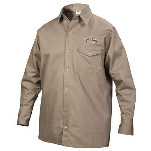 Lincoln Electric Welding Shirt | Premium Flame Resistant (FR) Cotton | Custom Fit | Khaki / Tan | 2XL | K3382-2XL
