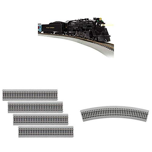 """Lionel The Polar Express, Electric HO Gauge, Model Train Set w/ Remote and Bluetooth Capability + 4 Additional Pieces of 20"""" Radius Straight + 4 Radius Curve MagneLock Track"""