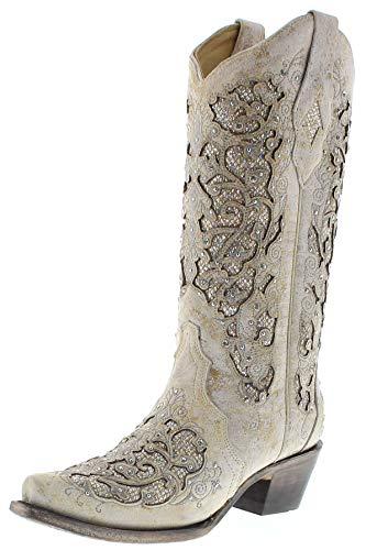 Corral Boots Damen Cowboy Stiefel A3322 White Westernstiefel Festivalstiefel Lederstiefel Weiss 37.5 EU