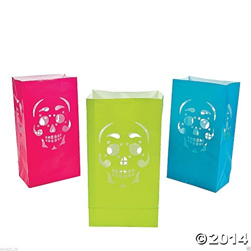 New 12 Halloween Day of The Dead Party Decoration Prop Paper Skull Luminary Bags
