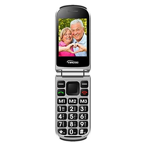 Teléfono Móvil para Personas Mayores Teclas Grandes con Tapa Flip Senior Fácil de Usar Celular para Ancianos con SOS Botones, Pantalla de 2,4 Pulgadas y Pantalla Externa de 1.77 Pulgadas
