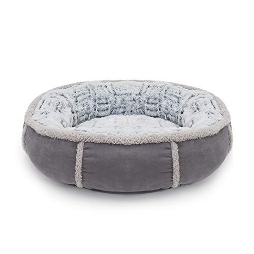Rosewood 04371 Hundebett in Donut-Form mit Dicker Plüsch-Innenseite, grau, Länge: 68cm