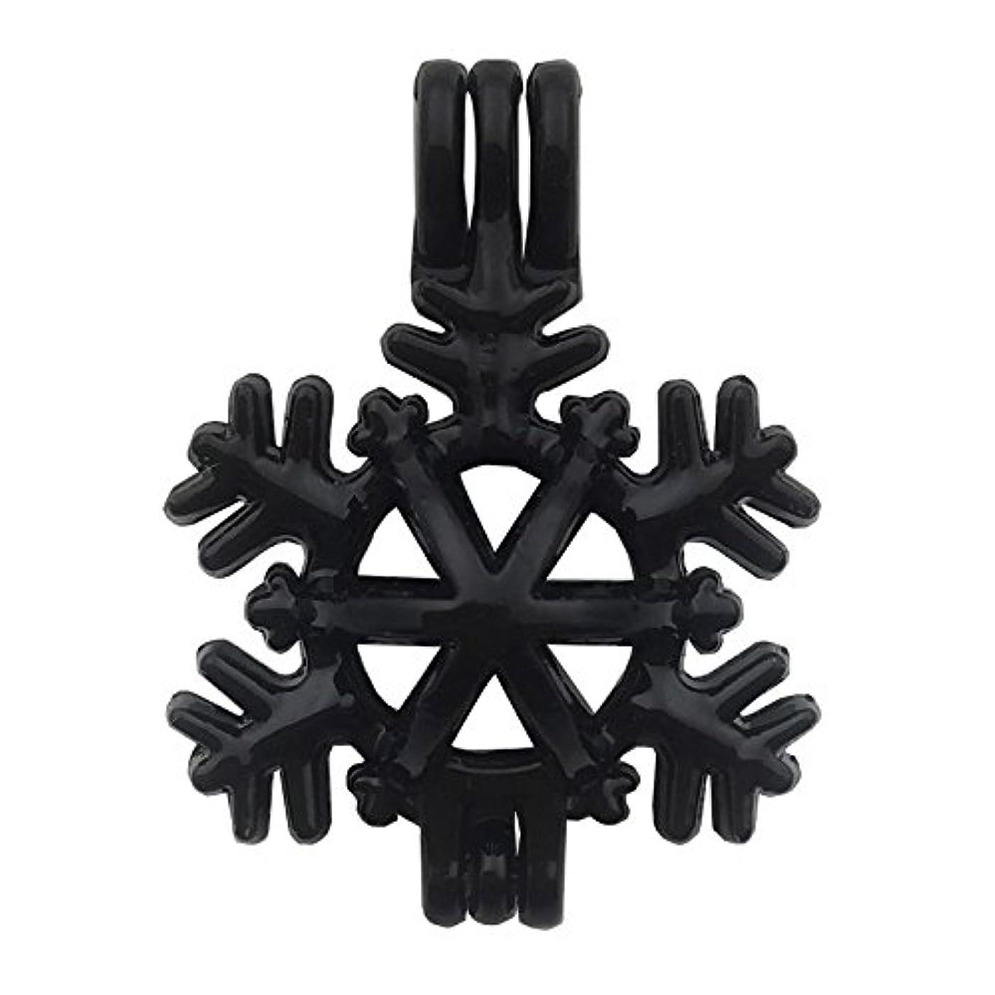 10pcs Enamel Black Pearl Bead Cage Pendant Perfume Essential Oil Aromatherapy Diffuser Locket Charm Pendant Craft Jewelry Making Necklace Bracelet DIY M50 (Snowflake)