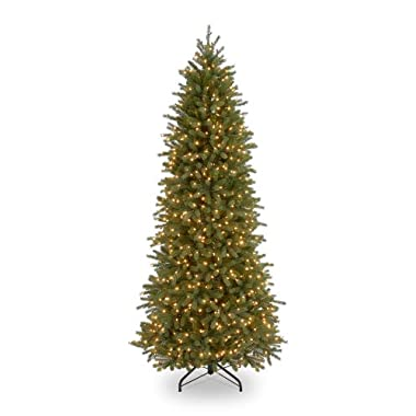 National Tree 7.5 Foot Jersey Fraser Fir Pencil Slim Tree with 650 Clear Lights (PEJF4-362-75)