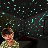 Luminoso Plástico Pegatinas de Pared,luna y estrellas Adhesivos decorativo de pared, DIY fluorescentes Decoración de la Habitación Para Chico Niña Bebé, Casa Interior Mural