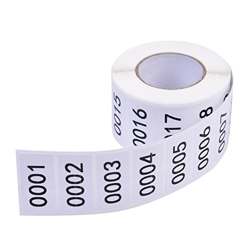 """Inventory Labels - Consecutive Number Labels Inventory Stickers - Product Claiming Labels 1-1000 Clothes Numbers, Moving Box Numbering 0.75"""" x 1.5"""" Size Labels"""
