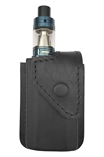 VlaMiTex i2 Bolsa de Cintura Viaje portátil para Caja de Cigarrillos electrónica vaporizador Mod Smok Alien 220w / eVic VTC Mini/Cubis Pro Full Kit, Cuero Genuino, Negro
