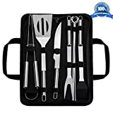 Lukovee Barbecue Grill Tools Set, 9 Pieces Stainless Steel Barbecue Accessories with Storage