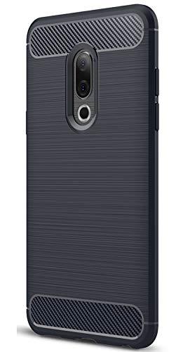 XINFENGDI Meizu 15 Hülle, Tasche mit Stoßdämpfung Robuste TPU Stylisch Karbon Design Handyhülle Case Hülle für Meizu 15 - Blau