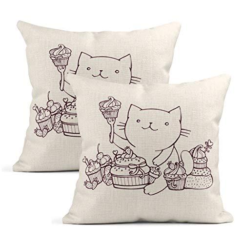 Meowjoy - Set di 2 federe per cuscino in lino con motivo gatto mangiare dolci cupcakes per auto, divano, camera da letto, decorazione per la casa, idea regalo per familiari e amici, 45 x 45 cm