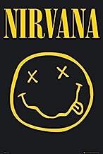 نيرفانا - ملصق فني مطبوع عليه وجه مبتسم 36x24 موسيقى روك آند رول ميوزيكال ليجيند كيرت كوباين.