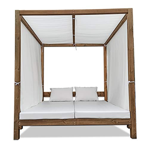 Luxury Furniture- Cama Balinesa Moderna para Exterior de Madera Color Nogal 185 x 200 x 200 CMT.