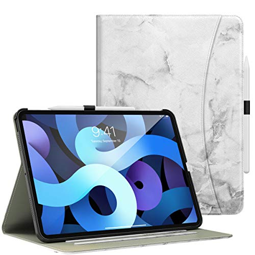 Dadanism Case Fit iPad Air 4th Generation Case 2020 10.9 inch Case, [Multi-Angle Viewing Stand] Protective Cover with Flexible Hand Strap & Card Slots, Auto Wake/Sleep, Marble White