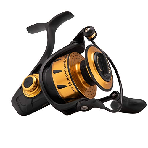 "PENN Fishing Spinfisher VI Saltwater Spinning Reel, 5500 Reel Size, 5.6:1 Gear Ratio, 39"" Retrieve Rate, 6 Bearings, Ambidextrous, Black Gold"