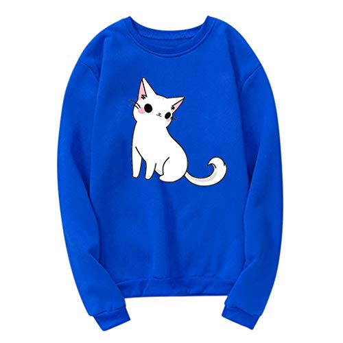VECDUO Women's Pullover, Cute Cat Print Long Sleeve Tops Casual Sweatshirt Blue