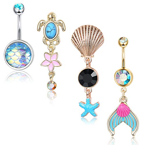 Subiceto 14G Belly Button Rings for Women Stainless Steel Hawaiian Sea Mermaid Tail Turtle Shell Star Oceanic Navel Rings