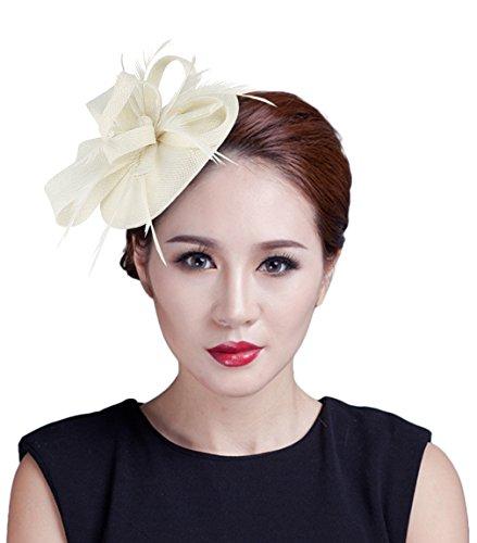 La Vogue Mini Chapeau De Cérémonie Mariage Accessoire Cheveux Bibi Plume Femme Beige