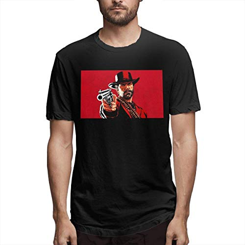 Herren Design Atmungsaktiv Red Dead Redemption 2 Kurzarm T-Shirt Schwarz,M