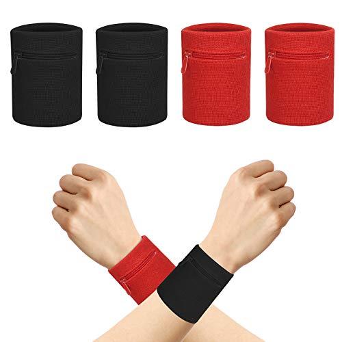 CHIFOOM 4pcs Schweissband Handgelenk Set Sport Wristband Schweißarmband Sportarmband Fitnessband Schweißband mit Reißverschlusstasche Laufarmband für Fitness Laufen Radfahren Fußball Basketball