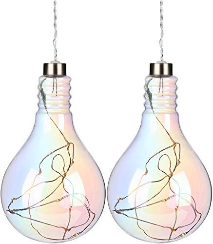 COM-FOUR® 2x LED-lamp van glas - decoratieve lamp met regenboogkleuren om op te hangen - hanglamp op batterijen met LED-lichtketting (02 stuks - LED decoratie V2)