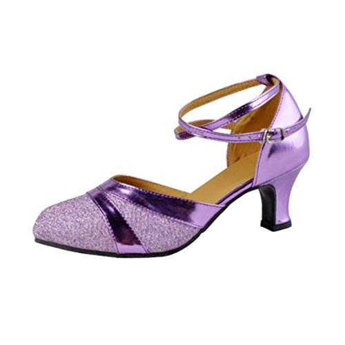 Dans schoenen Tango Sandal Heel Pump Vrouw Sandalen Wedding schoenhiel Latin Dance Vrouw,Purple,36