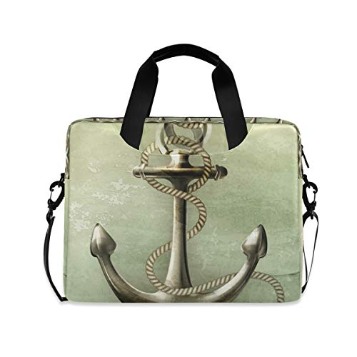 Grey Sea Boat Anchor Laptop Shoulder Bag Notebook Computer Handbag Sleeve Table Carrying Case Messenger Bags Fits 15.4 in for Youth Men Women