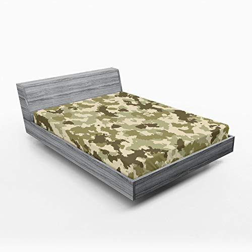 Ambesonne Camo Fitted Sheet, Old Fashioned Camouflage Pattern Classical Jungle Survival Theme, Soft Decorative Fabric Bedding All-Round Elastic Pocket, Queen Size, Pale Green