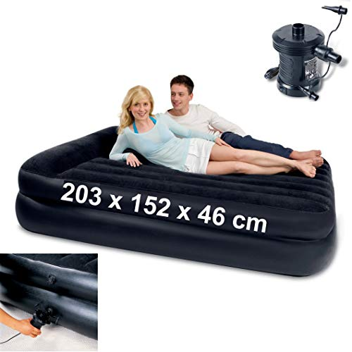 Izzy Premium Luftbett Gästebett Luftmatratze Gästebett wasserabweisend beflockt Velours-Liegefläche Reisebett Airbed (blau 203 x 76 x 28 cm mit elektrischer Pumpe)