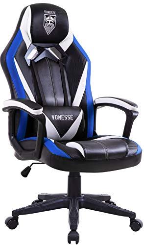 Ergonomisch Gaming Stuhl, PC Gaming Stuhl mit Massage, Hohe Rückenlehne PC Gaming stühle für Gamer, Racing Style Verstellbarer Computerstuhl für Erwachsene, Großer Bürostuhl mit Armlehne (Blau)