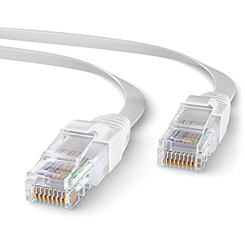 Mr. Tronic 10m Ethernet Netzwerk Netzwerkkabel Flach | Patchkabel | CAT6, AWG24, CCA, UTP, RJ45 | LAN Kabel für Gigabit Internet Netzwerke | Ideal für PC, Router, Modem, Switch (10 Meter, Weiß)