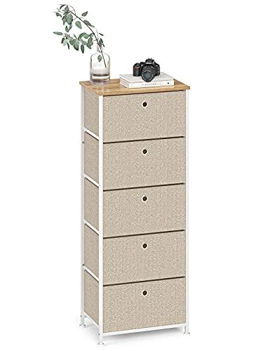 Cómoda de Tela Cajonera Organizador Vertical Almacenaje Gabinete de Almacenamiento Estrecho con 5 Cajónes Armario Alto para Entrada Salon Pasillo Cocina Dormitorio Madera+Metal Blanca+Beige