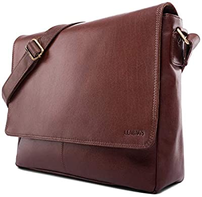 LEABAGS Oxford - Messenger Bag Briefcase Laptop Bag 13 Inch Genuine Leather - Brown