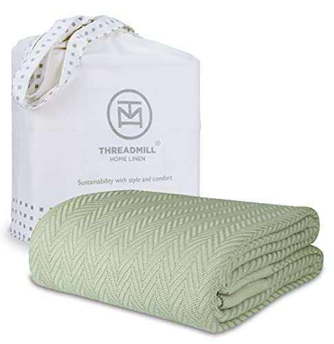 Threadmill 100% Pure Cotton, Queen Size Soft Sage Color Blanket - Long Staple Herringbone Pattern, Lightweight & Cozy Fall Throw Blanket for All Seasons, 350GSM & 90 x 92 inches with Free Tote Bag