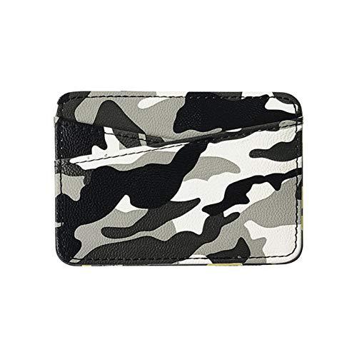 FSYX Wallet New Military Camouflage Camouflage Mini Cartera mágica de Cuero para Hombres con Monedero Monedero Delgado MonederoGris con Negro