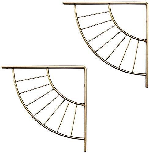Dos naves de metal decorativo de la pared soporte de estante soporte de estante for el segmento de Ministerio del Interior de la moderna restaurante estantería de hierro forjado (oro/negro). (Color:
