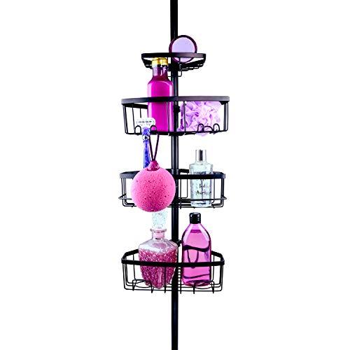 Zen Garden® Premium Teleskop Duschregal – edles Duscheckregal mit Rasierer-Halterung für Dusche & Badewanne – Badewannenregal ohne Bohren mit 4 Körben (matt schwarz)