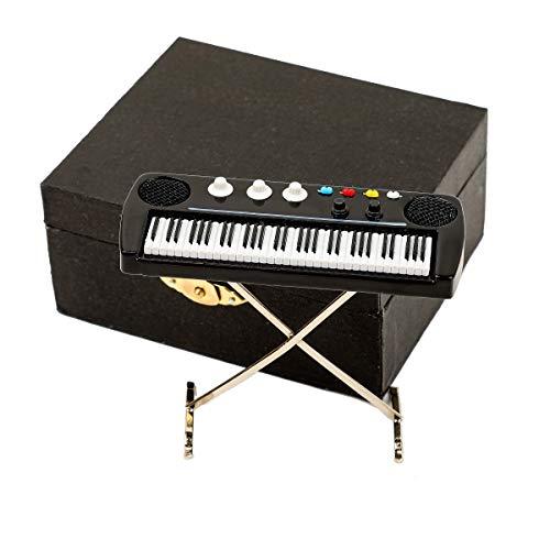 Seawoo Miniature Electronic Organ with Case Mini Musical Instrument Mini Electronic Keyboard Miniature Dollhouse Model Electone Christmas Ornament (3.53'x1.37'x2.96')