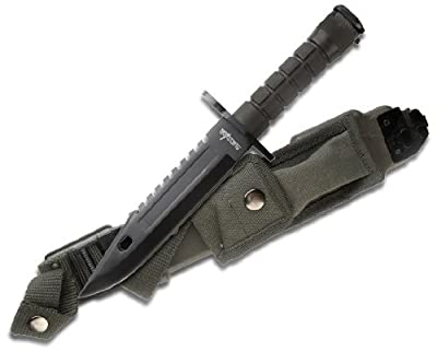 Survivor HK-56142BB Fixed Blade Survival Knife, Black Sawback Blade, Black Handle, 12-Inch Overall