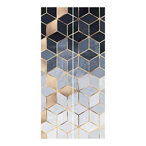 Tende scorrevoli Set Elisabeth Fredriksson Bianco d'oro Geometria Blu 2 Pannelli 250 x 120cm Senza Supporto