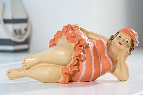 Wohnideen Kupke Deko Badefigur Carla 18x7cm Mini liegend im orangenem Strandlook Retro Stil 50er 60er Jahre