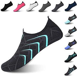 L-RUN Womens Water Shoes Barefoot Aqua Shoes Black XL(W:10.5-11,M:8-9)=EU41-42