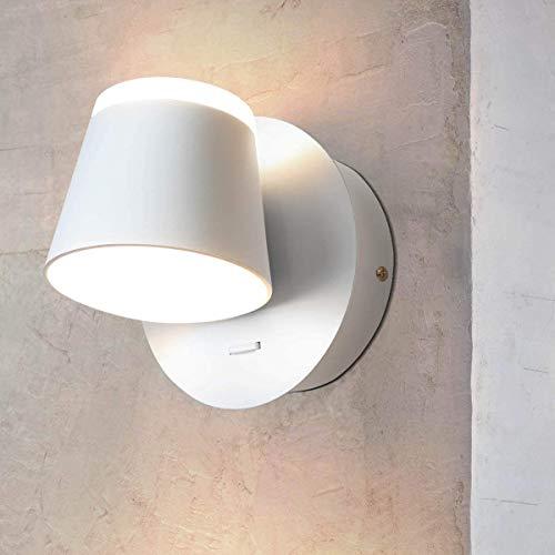 LED Wandlampe Wandspot Wandleuchte mit Schalter Wandstrahler Verstellbaren Leuchtenköpfen Wandbeleuchtung aus Aluminium 9W 3000K Nachttischlampe für Schlafzimmer