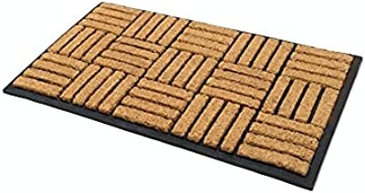 Fab Habitat Parquet Tiles Rubber Bordered Coir Doormat, 120 cm Length x 45 cm Width