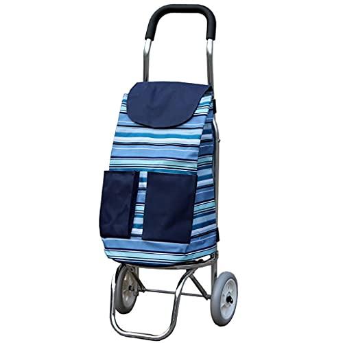 Guomipai Carrito de la compra de aluminio para carrito de la compra, remolque pequeño, portátil, plegable, impermeable, bolsa Oxford (color: A)