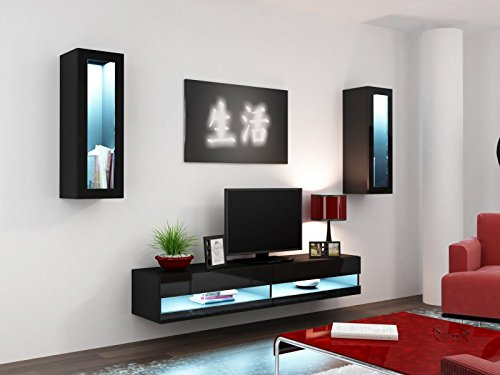 Wohnwand ' Vigo New II' Hochglanz Hängeschrank Lowboard Glasvitrine, Farbe:schwarz matt / schwarz Hochglanz