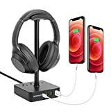 Volisun Headphone Stand with USB C Charger, Type-C Desk Gaming Headset Holder with Fast Charging,3 USB Charging Port,3 AC Outlet for Gaming,Desktop,DJ, Wireless Earphone Display (Black)