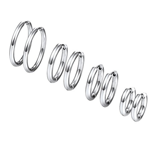 Aro Pendientes de Acero Inoxidable PROSTEEL Diámetro 10mm 14mm 16mm 20mm Conjunto de Pendientes de Aro Fino
