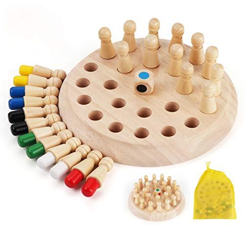 Anstore Memory Schach Holz, Memory Match Stick Schach, Schachspiel Lernspielzeug, gedächtnis-Schach, Hölzernes Gedächtnis-Schach für Kinder Frühe Lernerziehung, mit Organizer-Aufbewahrungsbeutel